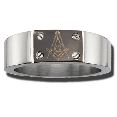 Stainless Steel 8mm Masonic Ring with Screw Accents