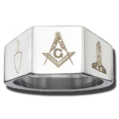 Stainless Steel 12mm Masonic Ring
