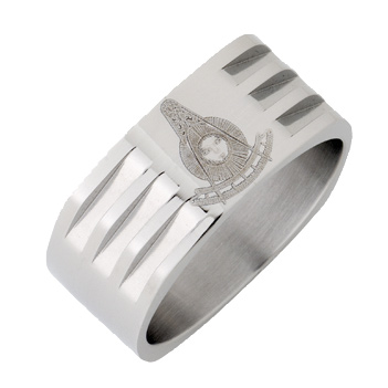Stainless Steel 8mm Past Master Mason Ring with Grooves