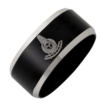 Black Plated Stainless Steel 10mm Past Master Ring