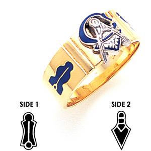 10kt Yellow Gold 8.5mm Masonic Wedding Band with Blue Enamel