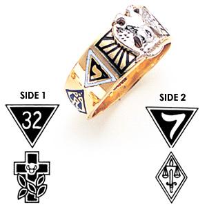 8.5mm Masonic Scottish Rite Ring - 14k Gold