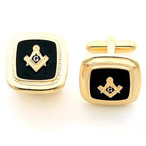 Yellow Gold Plated 7/8in Jumbo Masonic Cufflinks