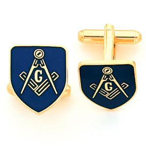 Blue Masonic Cufflinks Set - Yellow Gold Plated