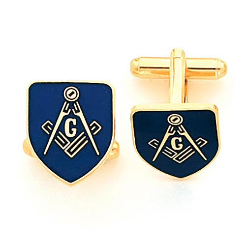 Blue Masonic Cufflinks Set - Yellow Gold Plated