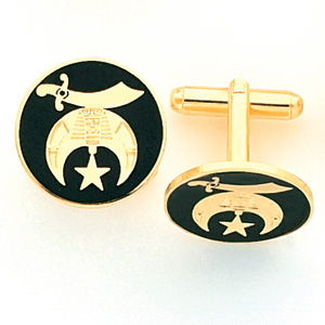 Black Shriners Cufflinks Set - Yellow Gold Plated
