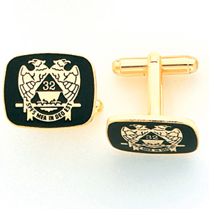 Yellow Gold Plated Masonic Scottish Rite Cufflinks Set