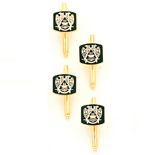 Masonic Scottish Rite Shirt Studs Set - Yellow Gold Plated