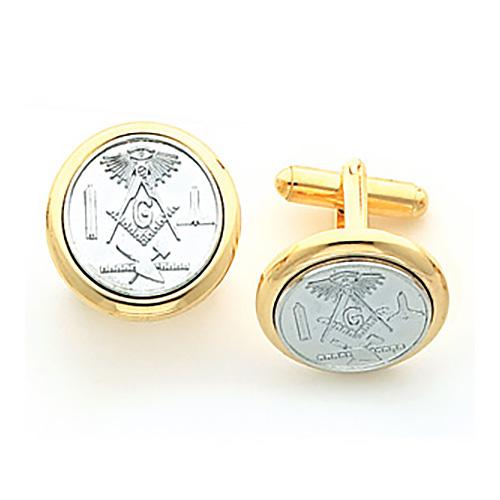 Two Tone Gold-Plated Brass Masonic Cufflinks