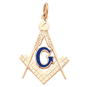 14kt Yellow Gold 1 1/8in Masonic G Compass and Square Pendant
