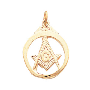 10kt Yellow Gold 3/4in Masonic Pendant in Circle