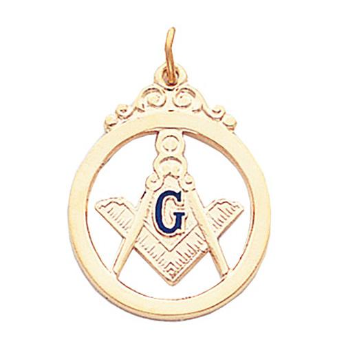 7/8in Masonic Round Pendant - 10k Gold