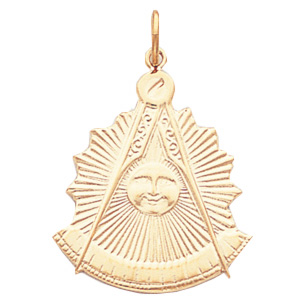 14kt Yellow Gold 1 1/4in Masonic Past Master Pendant