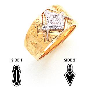 10kt Two-tone Gold 10mm Masonic Wedding Band