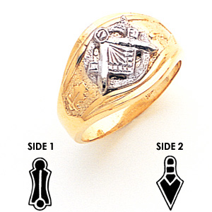 14kt Two-tone Gold Masonic Ring with Open Back