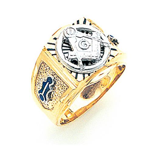 Rectangular Blue Lodge Ring - 10k Gold