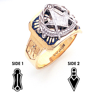 10kt Yellow Gold Blue Lodge Ring with Oversize G