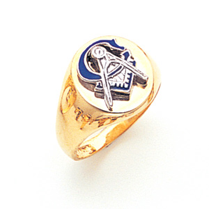 Round Blue Lodge Ring - 14k Gold