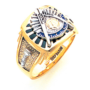 10kt Two-tone Gold Enameled Past Master Ring