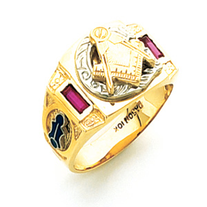 14kt Yellow Gold Masonic Ring with Created Red Sapphires