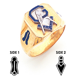 Jumbo Signet Blue Lodge Ring - 10k Gold