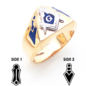Triangle Blue Lodge Ring - 14k Gold