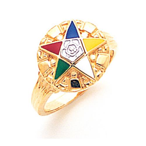 Eastern Star Enamel Ring - 10k Gold