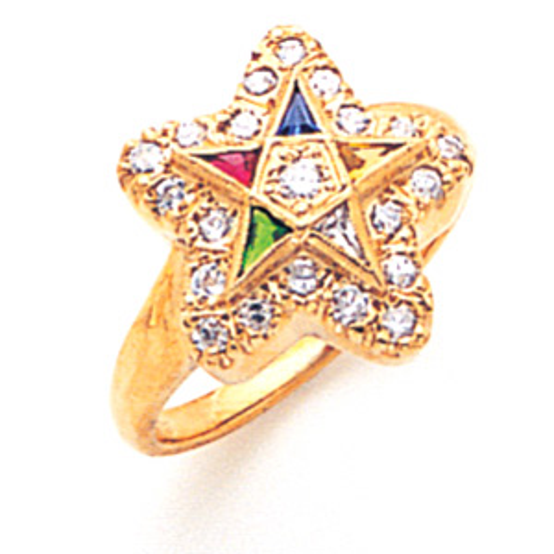 14kt Yellow Gold 1/2 ct Diamond Eastern Star Enamel Ring