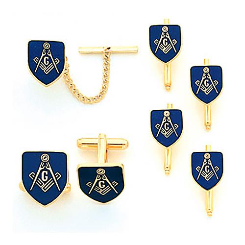 Yellow Gold Plated Masonic Cufflinks, Tie Tac & Studs Set