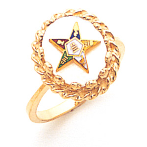 Eastern Star Mother of Pearl Ring - 14k Gold