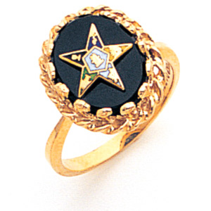 Eastern Star Onyx Ring - 10k Gold