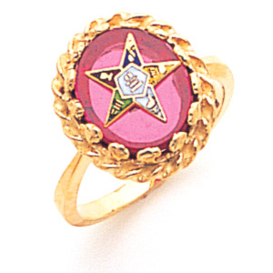 10kt Yellow Gold Eastern Star Red Stone Ring