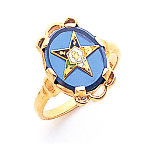 Eastern Star Blue Stone Ring - 10k Gold