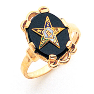Eastern Star Onyx Ring - 14k Gold