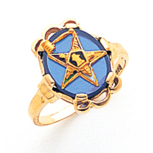 Eastern Star Past Matron Blue Ring - 14k Gold