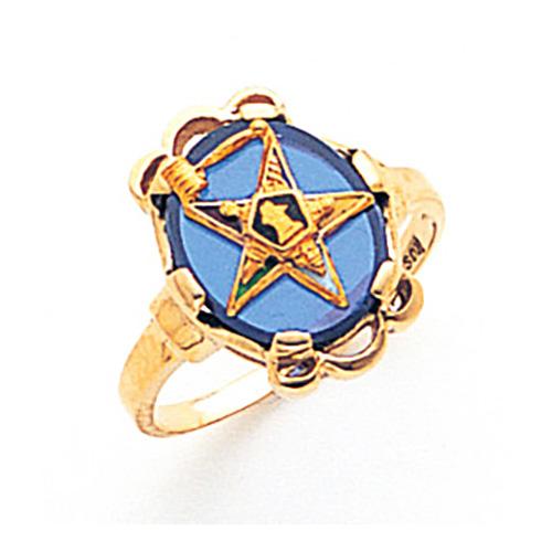 Eastern Star Past Matron Blue Stone Ring - 10k Gold