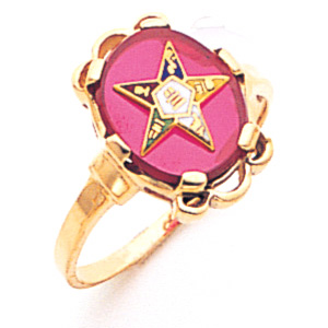 Eastern Star Red Stone Ring - 10k Gold
