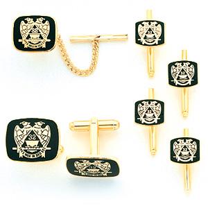 Gold-Plated Scottish Rite Cufflinks, Tie Tac & Studs Set