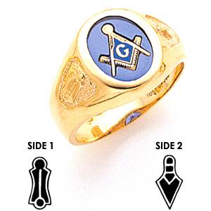 Masonic 3rd Degree Blue Lodge Ring - 10k Gold