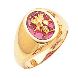 10kt Yellow Gold 4th Degree Knights of Columbus Ring with Red Stone