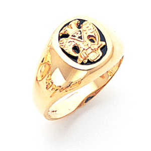 14kt Gold Scottish Rite Eagle Ring with Round Top
