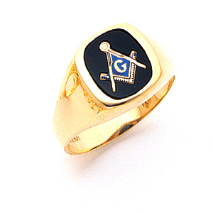 14kt Yellow Gold Masonic Ring with Smooth Tapered Sides