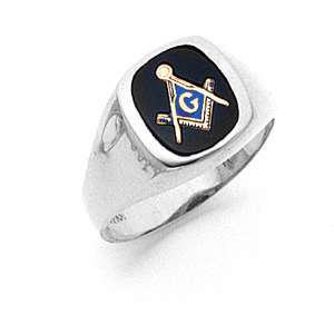 10kt White Gold Masonic 3rd Degree Blue Lodge Ring