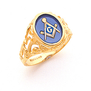Masonic Ring with Cut Out Sides - 10k Gold