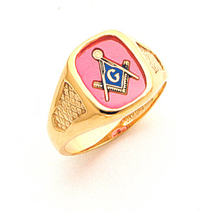 14kt Yellow Gold Blue Lodge Ring with Cross Stitch Texture