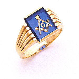 10kt Yellow Gold Masonic Ring with Open Grooves