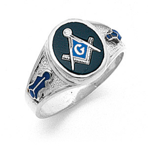 10kt White Gold Designer Oval Masonic Ring