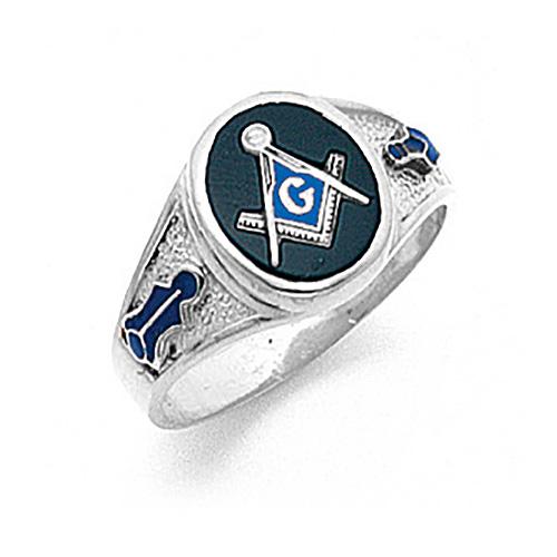 14kt White Gold Designer Oval Masonic Ring