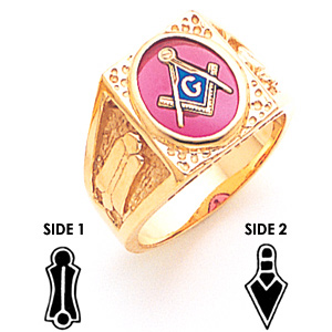 14kt Yellow Gold Masonic Ring Oval Stone Square Top