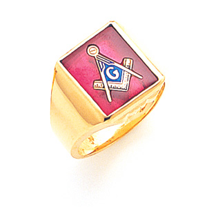 Jumbo Blue Lodge Ring - 10k Gold